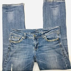 Stetson Hollywood Bootcut Distressed Blue Jeans 12